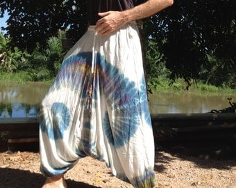 Mens Handmade Tie Dye Harem Pants. Baggy Pants. With Pockets. Ivory Blue