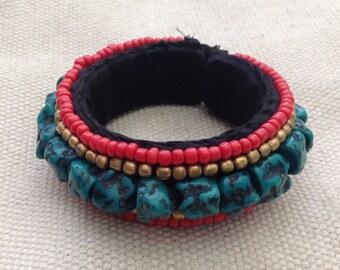 Vintage Turquoise Coral Cloth Bracelet