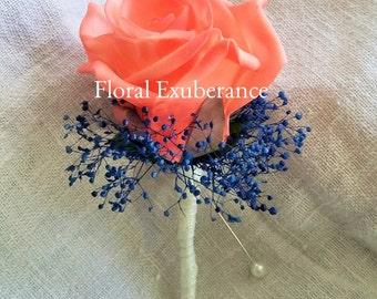 Artificial Coral,Blue,Navy, Foam Rose Buttonhole/Boutonniere silk wedding flowers, Groom, Bestman, Groomsmen, Ring bearer