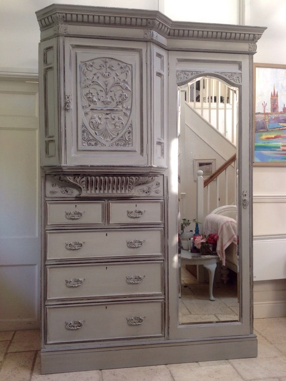 Impressive Antique Heavily Carved French Style Painted Wardrobe Compactum Combination Hall Cupboard Armoire