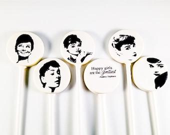 6 Audrey Hepburn White Chocolate Lollipops
