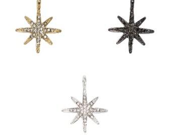 Pave Crystal Gold LARGE Starburst Charm (1pc)