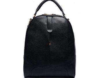 Khaki quality leather backpacks, school backpacks, women's backpack, travel backpack