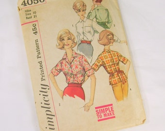 Vintage Sewing Pattern -  1960s Simplicity 4056 Size 10 Bust 31 Blouse Short Long Sleeve Simple to Make