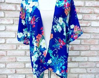 Kimono Cardigan, Blue Pink Kimono Jacket, Gift for Her, Boho Kimono, Hippy Kimono Top, Beach Coverup, Fall Cardigan, Swimwear