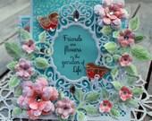 Friendship card, OOAK greeting card, handmade card, die cuts,