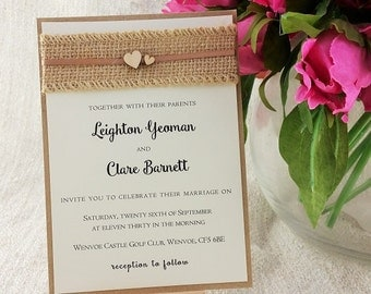 Burlap Ribbon Wooden Heart Rustic Invitation