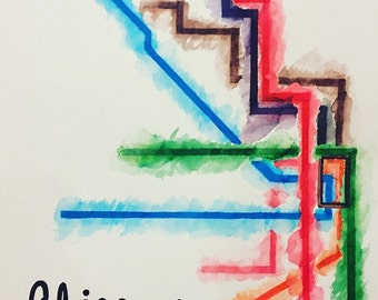 """Chicago """"L"""" Watercolor Painting"""
