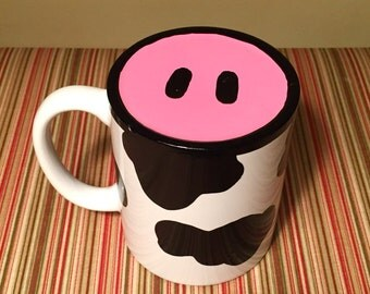 Hand Painted Cow Moo Mug with Nose on Bottom. Funny!