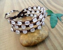Rose Quartz macrame bracelet, beaded bracelt, macrame jewelry, hippie bracelet, healing jewelry, gemstone bracelet, crystal healing, macrame