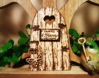 "Magical Fairy door ""Fairies Welcome"" with key. CUSTOMIZED."
