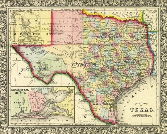 Antique Texas Map 1863 8 X 10 To 28 X 36 Pixels