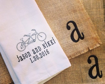 Tandem bike Wedding date tea towel! Great gift personalized with bride and groom names and date! Shower gift!