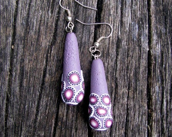 Dangle Drops Earrings Purple Dots Handmade Present Earrings Gift For Her Anniversary Present Spring Unique Jewelry Trends Art Fashion Summer