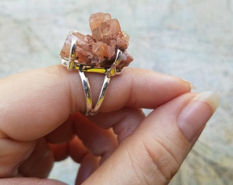 Large Unique Natural Argonite Crystal Statement Ring,  925 Sterling Silver Ring, Chunky OOAK Jewelry, Size 6.5