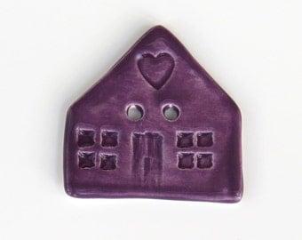 Purple House Button - Ceramic Button