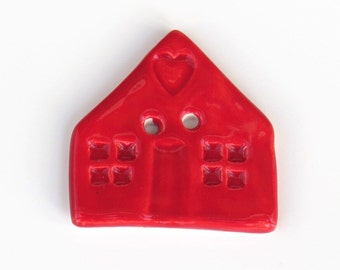 Red House Button - Ceramic Button