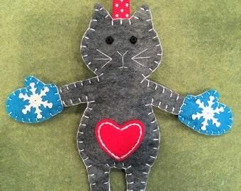 Felt KittensWithMittens Ornament