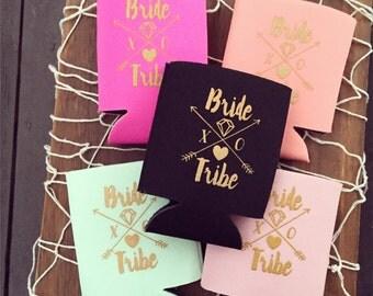 Bride Tribe Drink Coolers | Boho Tribal Bachelorette Party Favor, Metallic Gold Arrow Bride Tribe Drink Holder Favor, Beer Bottle Can Cooler