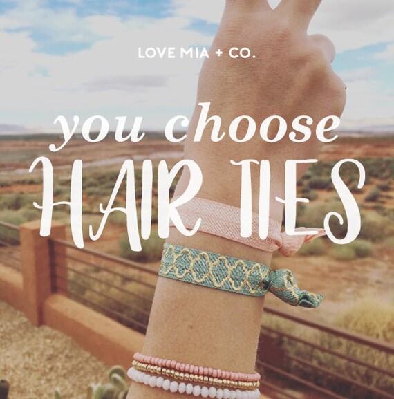 YOU CHOOSE | Elastic Hair Ties, Boho Hair Ties, Pick Your Prints, Creaseless Elastic Hair Ties by Love Mia + Co.