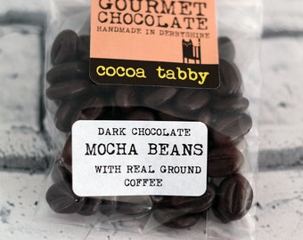 Mocha Beans - Dark chocolate beans with ground coffee