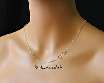 Sterling Silver Infinity Necklace, Infinity Charm Necklace, Initial Necklace, Figure Eight, Bridesmaid Necklace, Thin Chain, Silver Chain