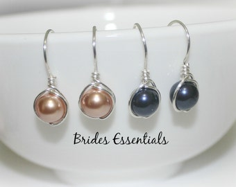 Handmade Wire Wrapped Earrings, Wedding Earrings, Bridesmaid Jewelry, Bridal Jewelry, Navy Blue White Gold Pearl Earring, Bridal Accessories
