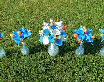 Blue and Orange Wedding Bouquet Set