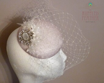 Vintage ivory bridal pillbox percher with pearl merry widow birdcage veil, silk flowers vintage crystal pendant