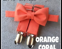 Orange Coral Bow Tie and Suspender Set for men, boys, toddlers, and babies. Sent 3-5 days after you order