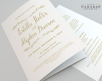 Wedding Program PRINTABLE Folded Wedding Program DIGITAL Flat Wedding Program - Little Carabao Studio - #PC105