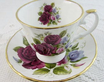 Vintage Royal Stafford Floral Tea Cup and Saucer, Bone China