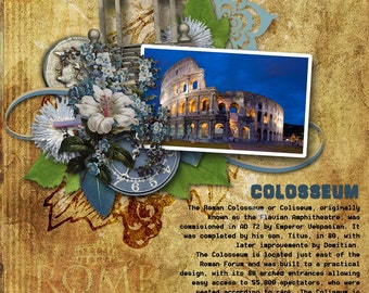 """Rome Italy Scrapbook KIT -Digital embellishments and Scrapbook Papers """"WHEN In ROME"""" Favorite Italian vacation - Tourist places"""