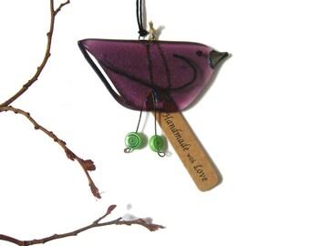 Mauve bird, fused glass hanging bird in Mauve. Christmas stocking filler glass gift, unique friend gift,BD126 suncatcher