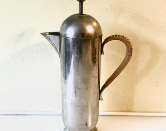 "Rare Vintage Nick Munro Pewter ""Coffeetiere"" French Press Rattan Handle"
