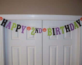 HAPPY BIRTHDAY Letter Banner - Black, Light Purple, Lime Green, Orange - Card Stock - Age Birthday Sign - Halloween - Banner - Wall Decor