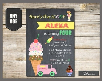 Here's The Scoop Birthday Invitation, Summer Birthday Invitation, Ice Cream, Birthday Party invitations,Ice Cream Cone Invitation, ANY AGE