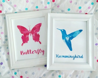 Watercolor Print- Butterfly or Hummingbird