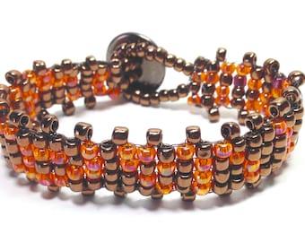 Orange Bracelet,Brown Bracelet,Beaded Bracelet,Fall Bracelet,Autumn Bracelet,Gifts for her,Holiday Gifts,Christmas Gifts,Cuff Bracelets,hemp