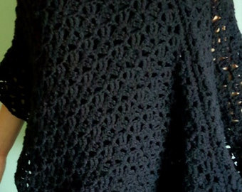 Black poncho, womans poncho, lacy poncho,asymmetrical poncho, lightweight poncho