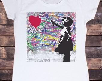 Womens White T-Shirt Banksy Girl Balloon Street Graffiti T-shirt TSB14