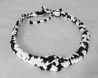 3 in 1 black white ibiza fabric necklace