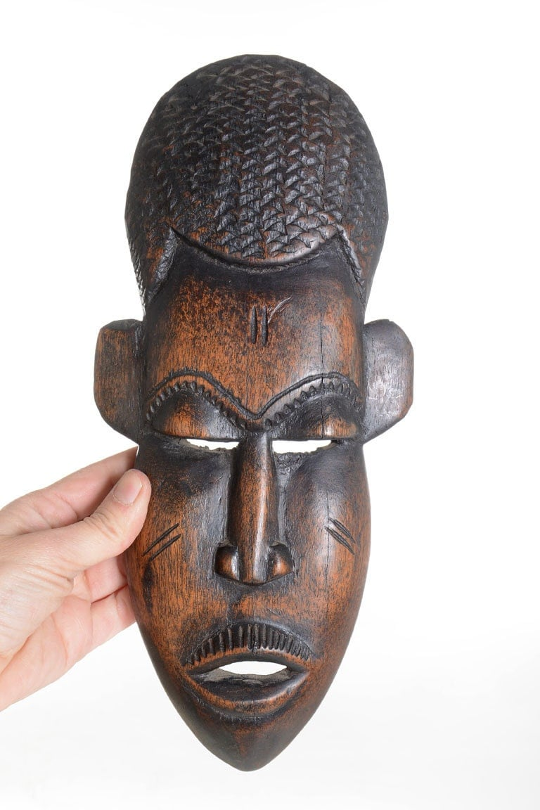 Wooden african mask wall décor art hand made wood