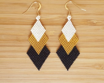 Black gold Gaia loops and weaving of glass Miyuki beads