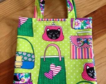 Green Cats Cotton Bag