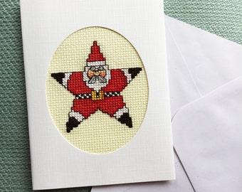 Christmas Card, Santa Claus, Cross Stitch Card Handmade