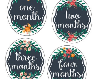 PRINTABLE Baby Monthly Stickers.Floral Baby Stickers. Baby Girl Milestone Stickers.First Year Belly Stickers.INSTANT DOWNLOAD.