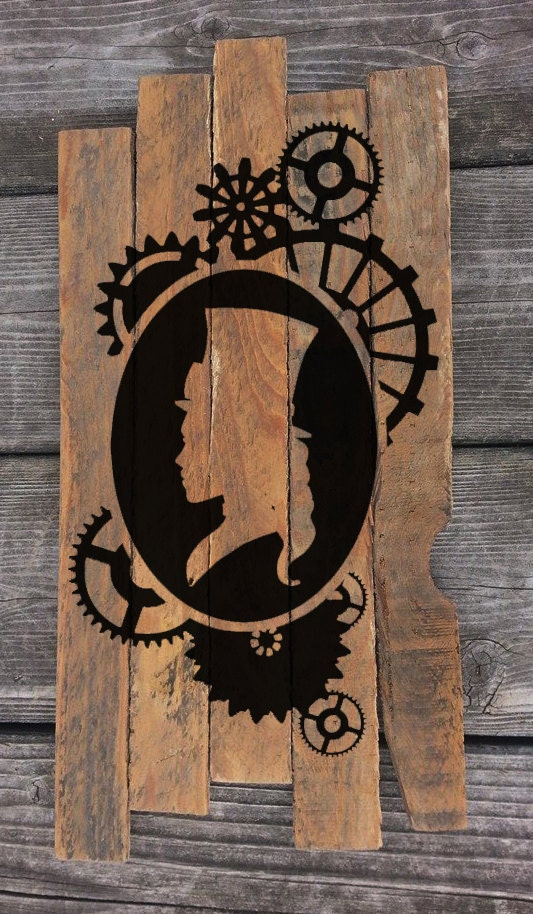 Steampunk Cameo Reclaimed Wood wall art Steampunk Decor