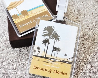 Elite Design Personalized Acrylic Luggage Tags Bag Tags Keepsakes Save The Date Travel Destination Wedding Bridal Shower Party Guest Favors