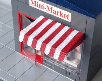 Striped shop awning for LEGO